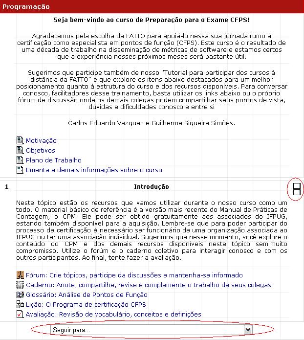 Exemplo com a programação de um curso com EAD da FATTO